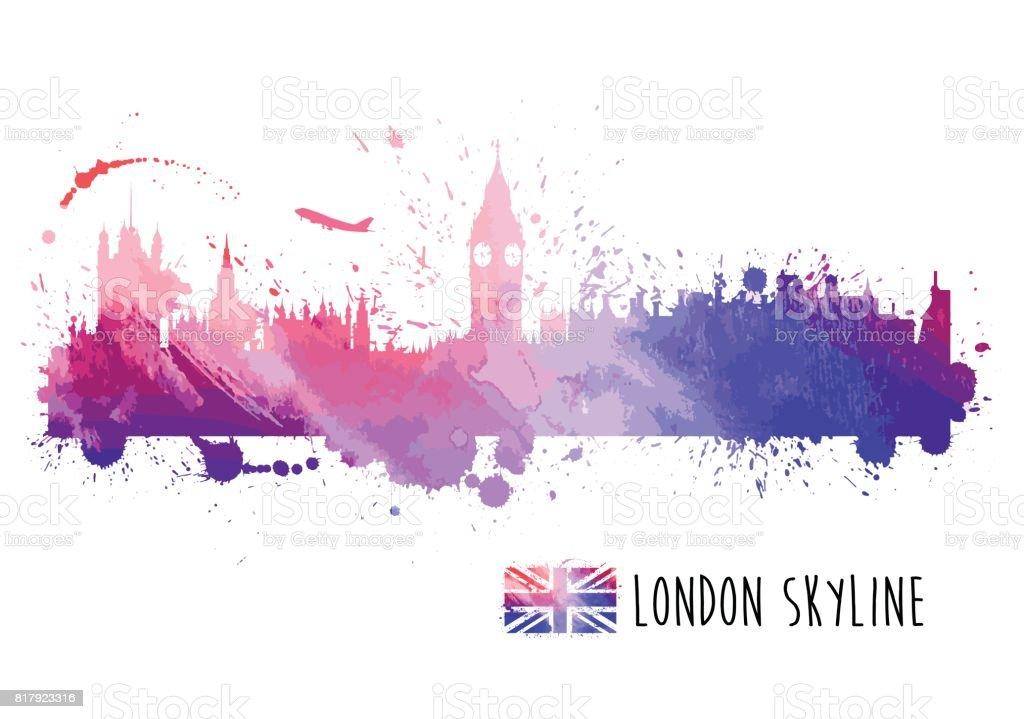 Aquarell London Skyline – Vektorgrafik