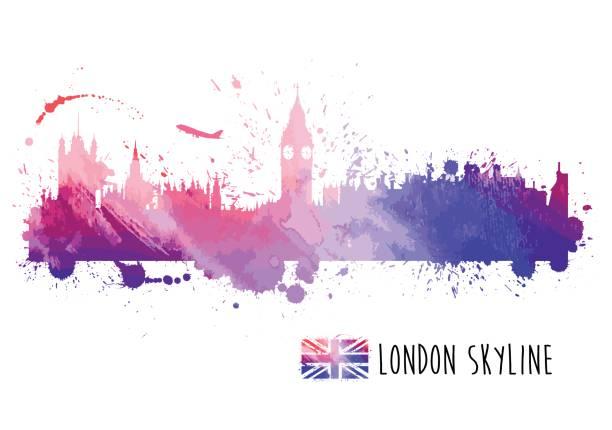 watercolor london skyline - uk travel stock illustrations, clip art, cartoons, & icons