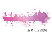 A vector illustration of the Los Angeles Skyline in watercolor paint.