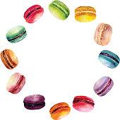 Watercolor Macaron Round Frame