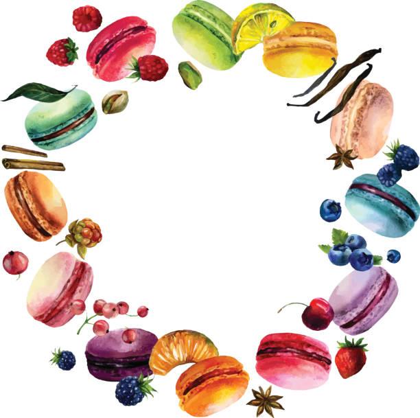 aquarell macaron runde frame - palettenbilderrahmen stock-grafiken, -clipart, -cartoons und -symbole
