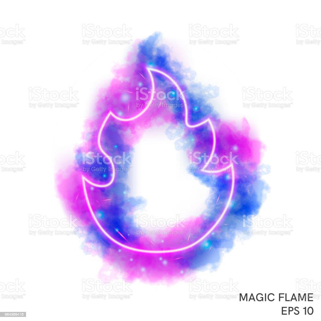 Aquarel magische vuur fakkel met neon counter - Royalty-free Abstract vectorkunst