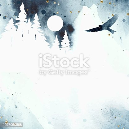 istock Watercolor magic vector landscape in blue, golden and white colors. Forest with mountain and eagle under night sky with moon. Hand drawn frame with place for text or illustration. 1297050568