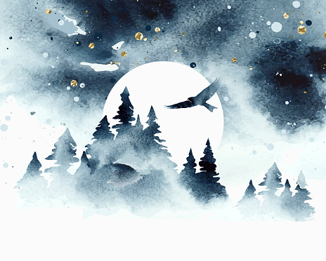 Watercolor magic vector landscape in blue, golden and white colors. Forest with eagle under night sky with moon. Hand drawn illustration.
