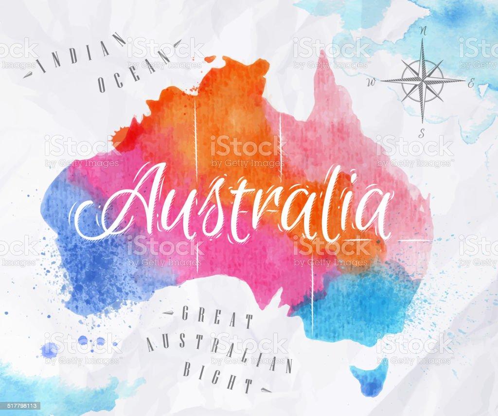 Watercolor Map Australia Pink Blue Stock Illustration