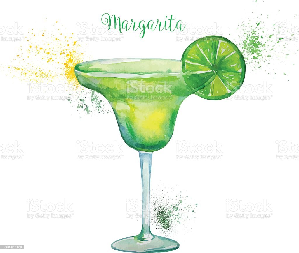 Watercolor Margarita Cocktail in Glass  Isolated on White Background. vector art illustration