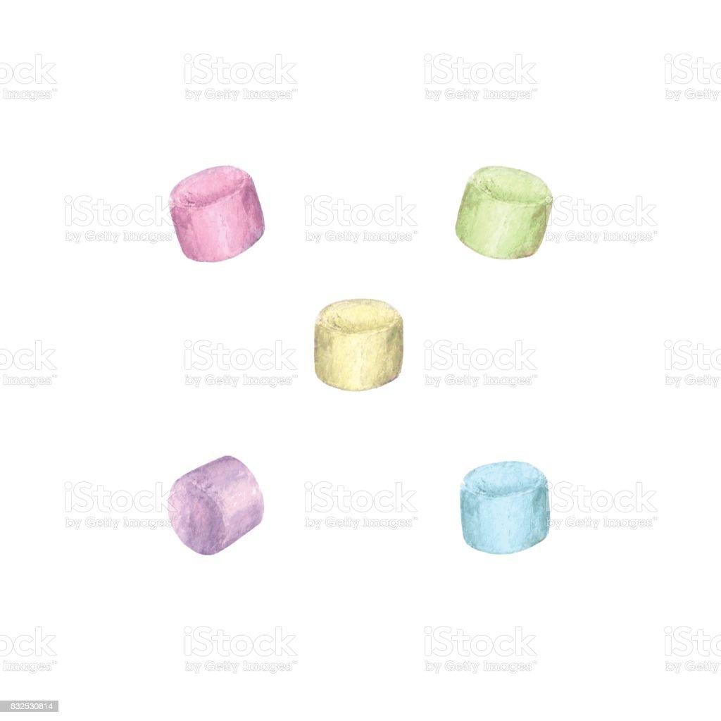 Watercolor marshmallow set vector art illustration