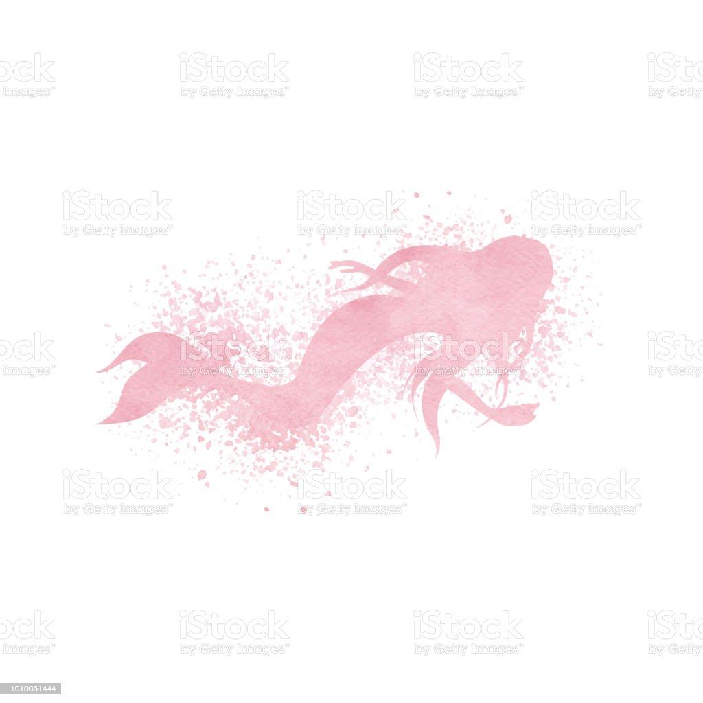 aquarell meerjungfrausilhouette mit farbe spritzen und sprühen effe