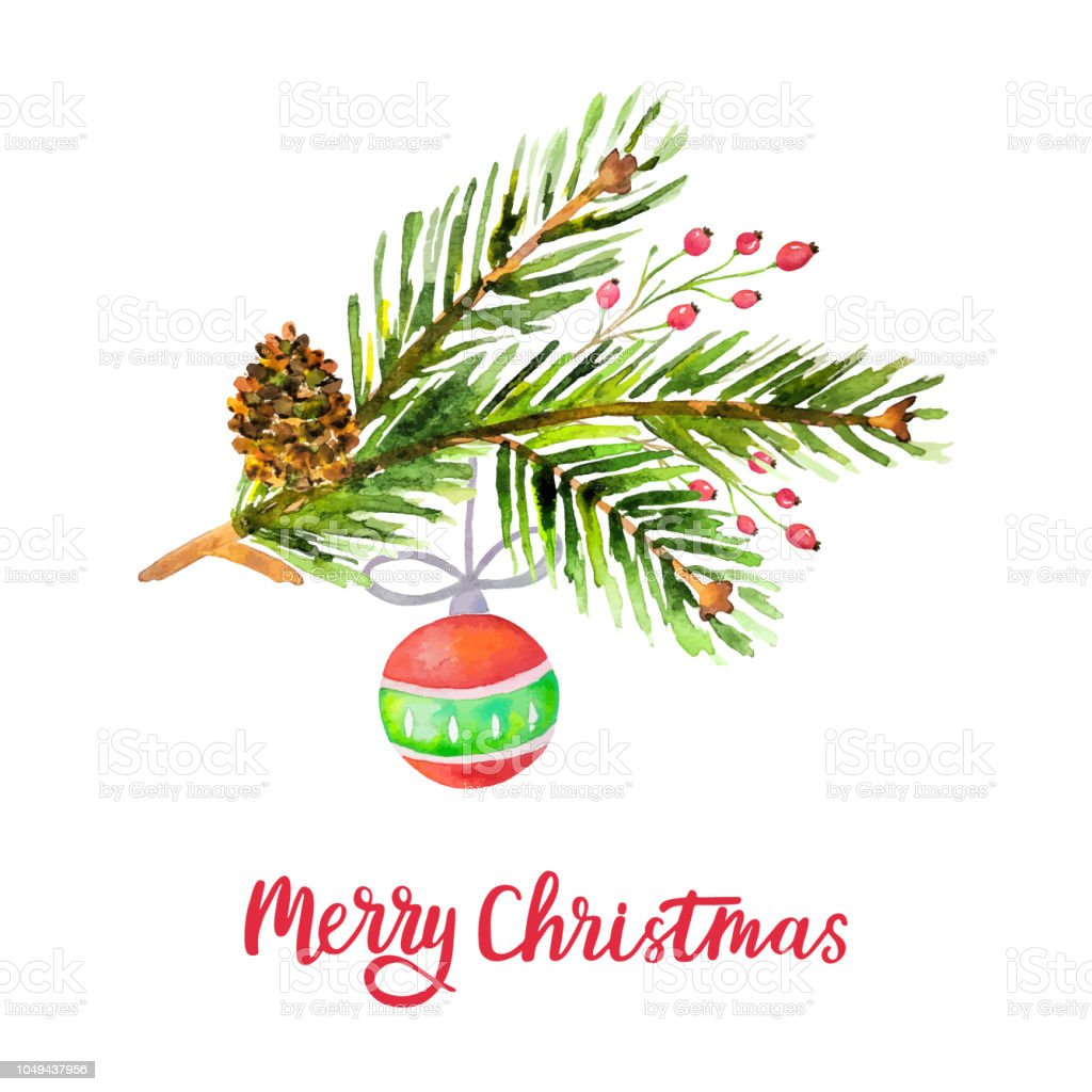 Watercolor Merry Christmas Background With Pine Branches Cone Holly ...
