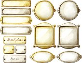 Set of watercolor metal plates. Rectangle, circle and oval frames. Gold and silver. Vector design elements isolated on white background