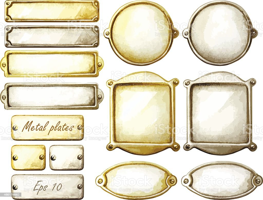 Watercolor metal plates vector art illustration