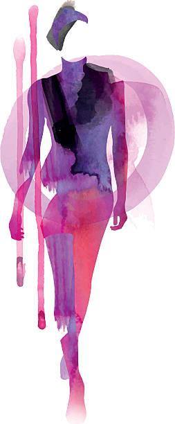 watercolor model - womens fashion stock illustrations, clip art, cartoons, & icons