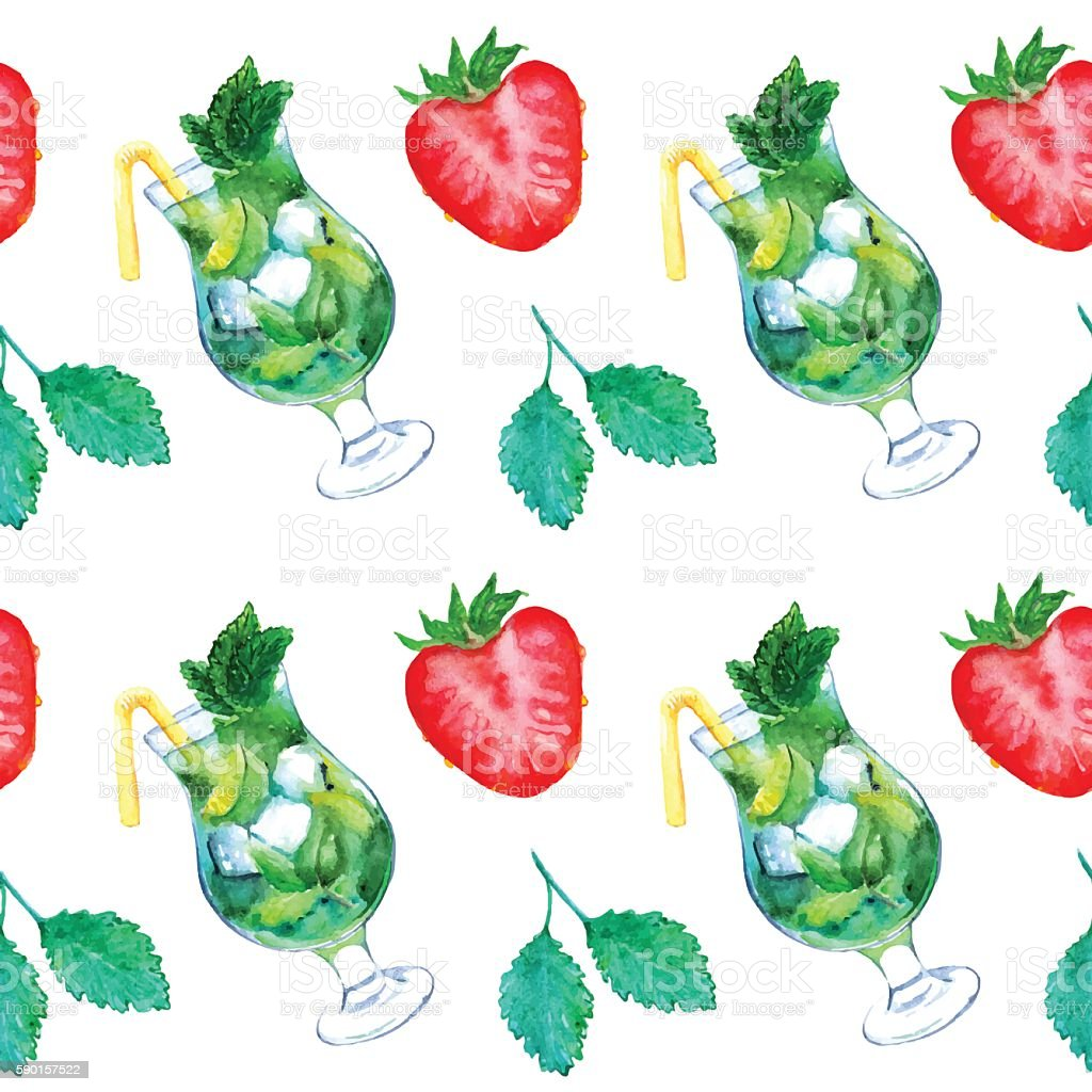 Watercolor mojito lime ice mint strawberry cocktail seamless pattern vector vector art illustration