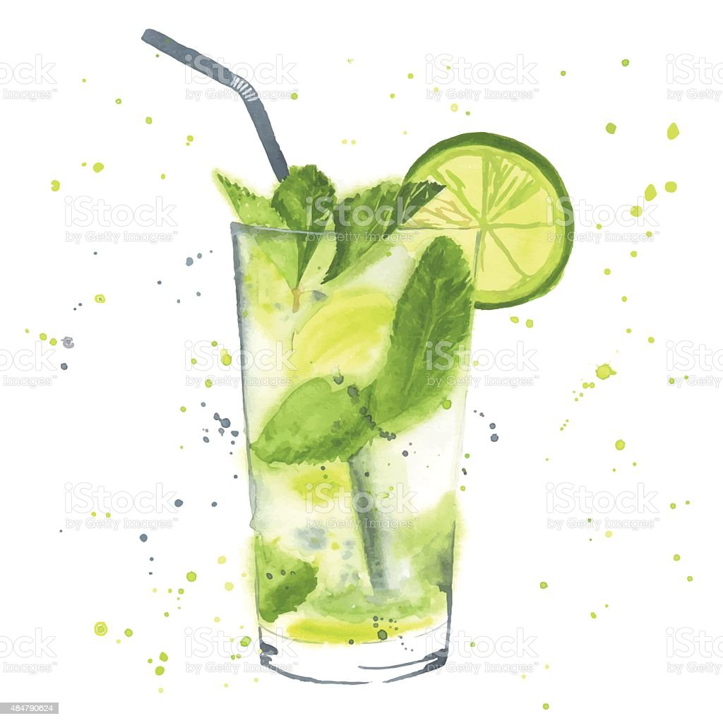 Watercolor mojito vector art illustration