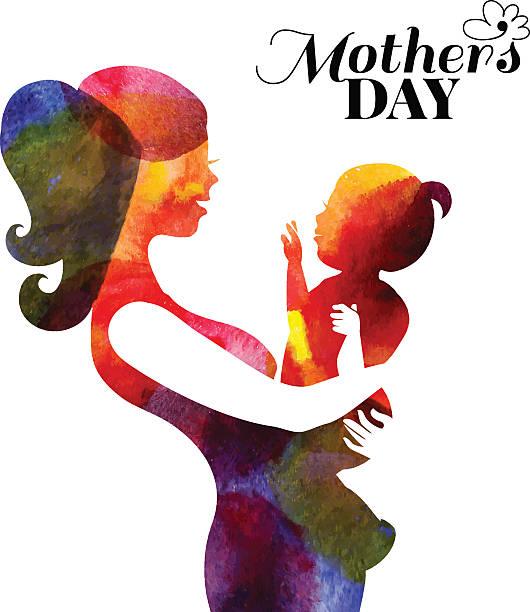 水彩 mother シルエットに彼女の赤ちゃん。幸せな母のカード - シングルマザー点のイラスト素材/クリップアート素材/マンガ素材/アイコン素材