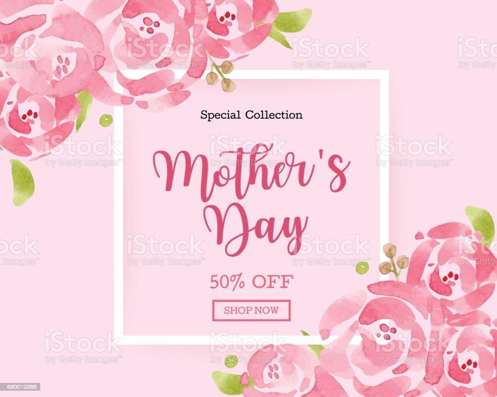 Tarjeta de felicitación día de acuarela madre con antecedentes flores para flyers banners, fondos de pantalla, invitación, carteles, folleto, cupón descuento. - ilustración de arte vectorial