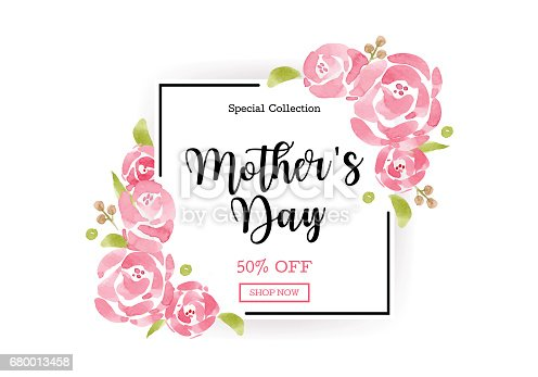 istock WaterColor Mother's day greeting card with flowers background for for banners,Wallpaper,flyers, invitation, posters, brochure, voucher discount. 680013458
