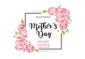 WaterColor Mother's day greeting card with flowers background for for banners,Wallpaper,flyers, invitation, posters, brochure, voucher discount.