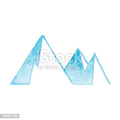 istock Watercolor Mountain icon Blue 668602964
