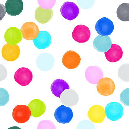 Watercolor Multicolored Circles Seamless Pattern. Abstract Background, Design Element.Vector Tile, Hand Drawn Childish Background. Party flyer template. Design element for sale banners, posters, labels, invitation cards and gift wrapping paper.