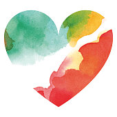 Watercolor multicolored heart