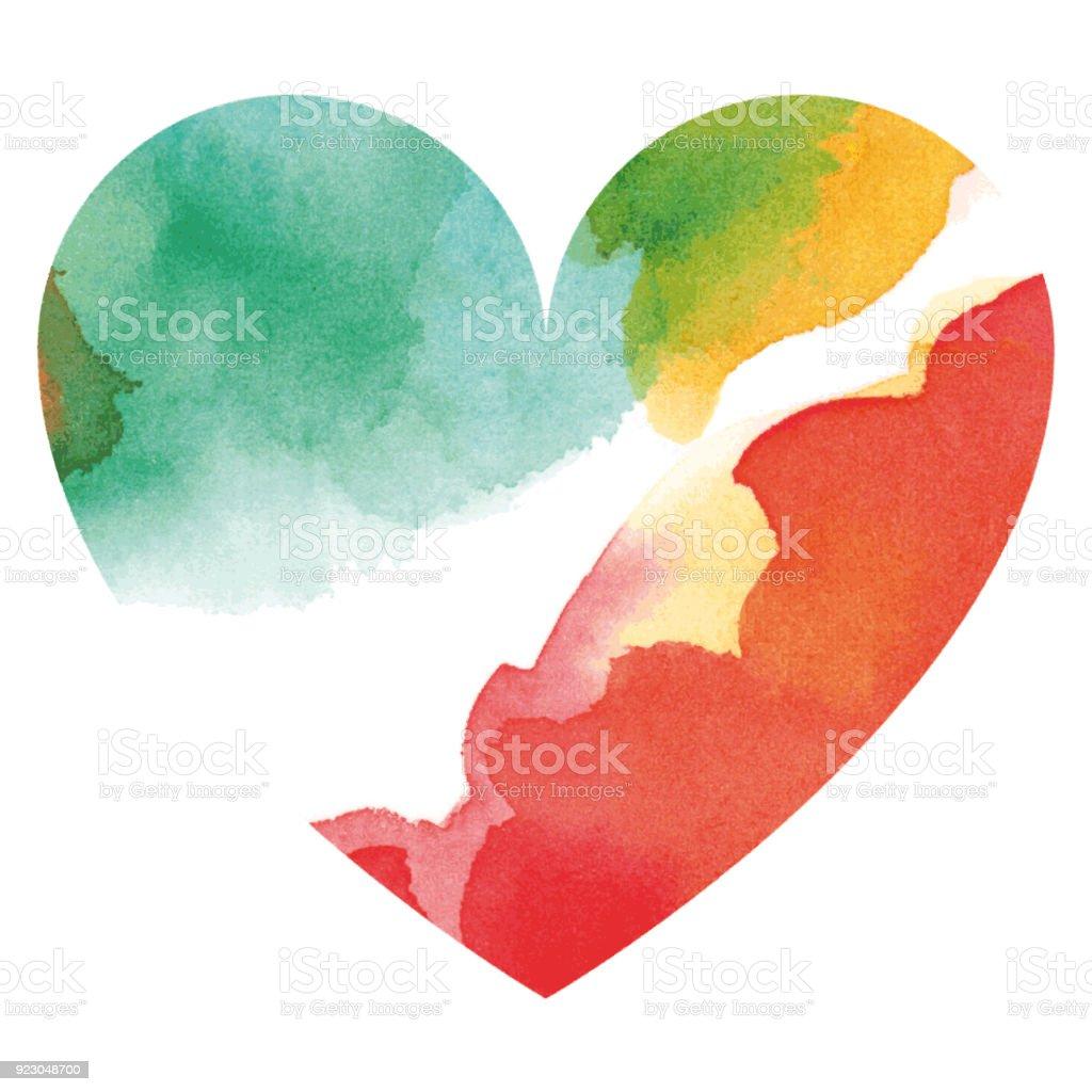 Watercolor multicolored heart vector art illustration