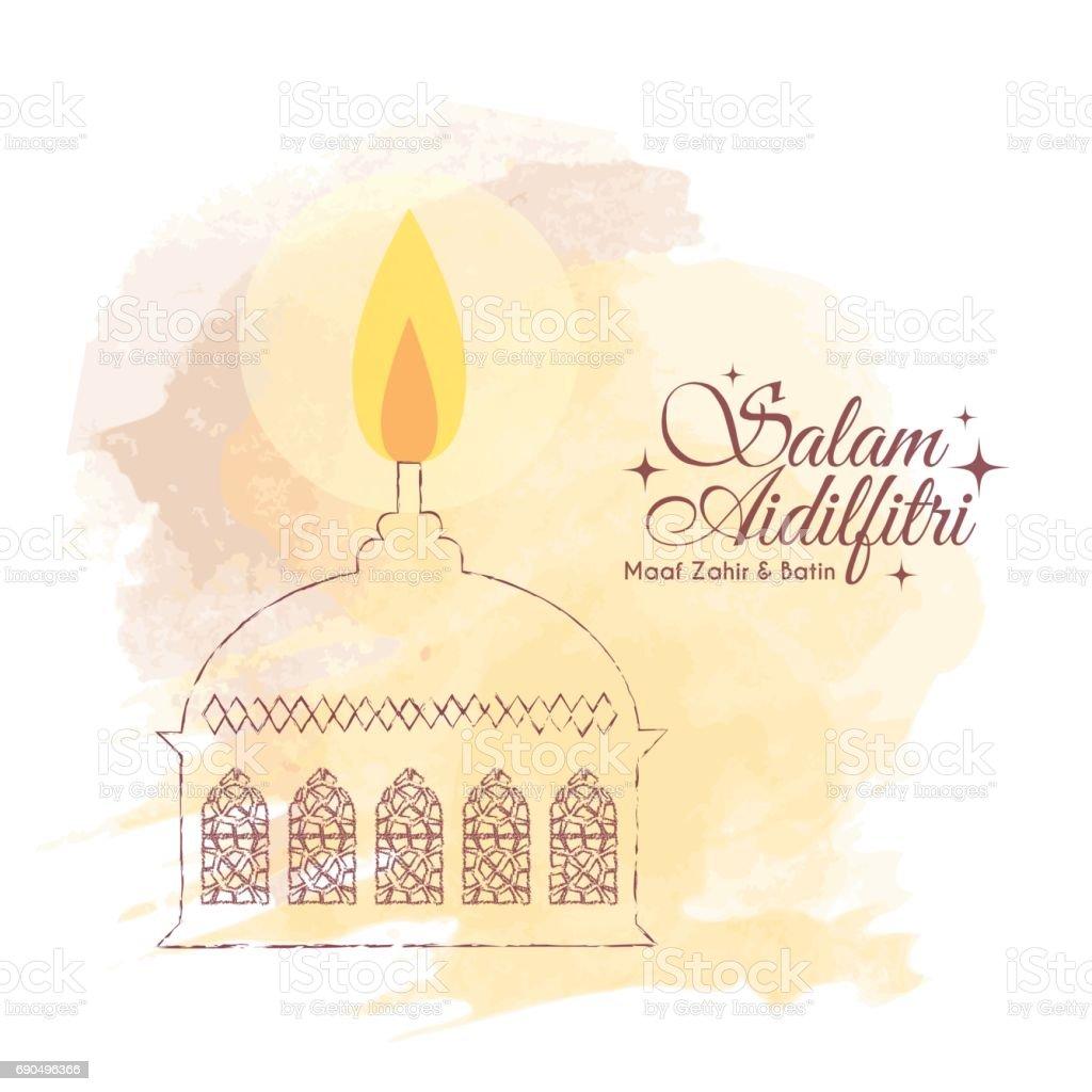 watercolor muslim oil lamp - brown vector art illustration