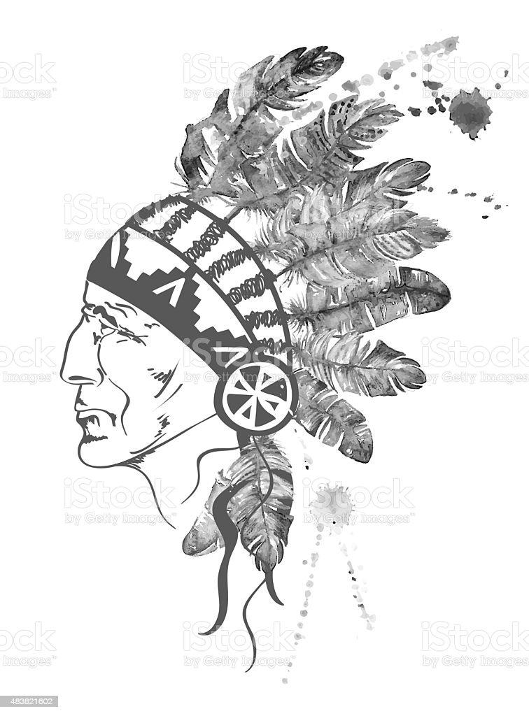 Watercolor Native American Indian chief. vector art illustration