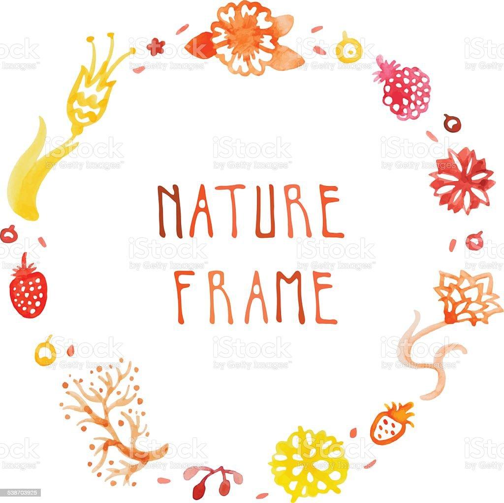 水彩自然のベクトルテキストフレームに手書きの花 のイラスト素材