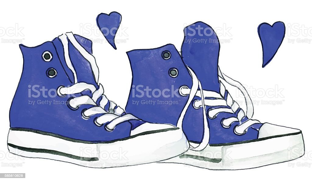 535f0a27305b61 Watercolor Navy Blue Sneakers Pair Shoes Hearts Love Isolated Vector ...