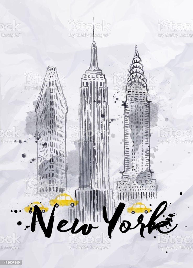 Watercolor New York buildings vector art illustration