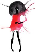 This vector image, designed in an abstract watercolor style, features the figure of a tall, thin woman wearing close-fitting thigh-high black boots with matching long black gloves.  The woman seems to be wearing a red outfit, short enough that it just barely reaches the top line of the boots.  The woman's arm appears to be pink, while her head looks black.  There is a circular backdrop behind the head of the woman, which is depicted as a wide black circle reaching from one of her shoulders to the other, then fading in a depth of darkness from the outside edge of the circle inward.