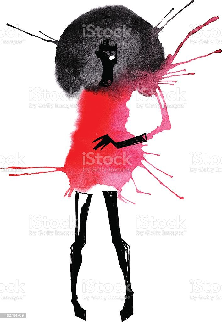 Watercolor of woman with black hair in a red dress vector art illustration