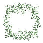 Watercolor olive wreath. Isolated vector illustration on white b