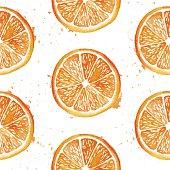 Watercolor orange background.