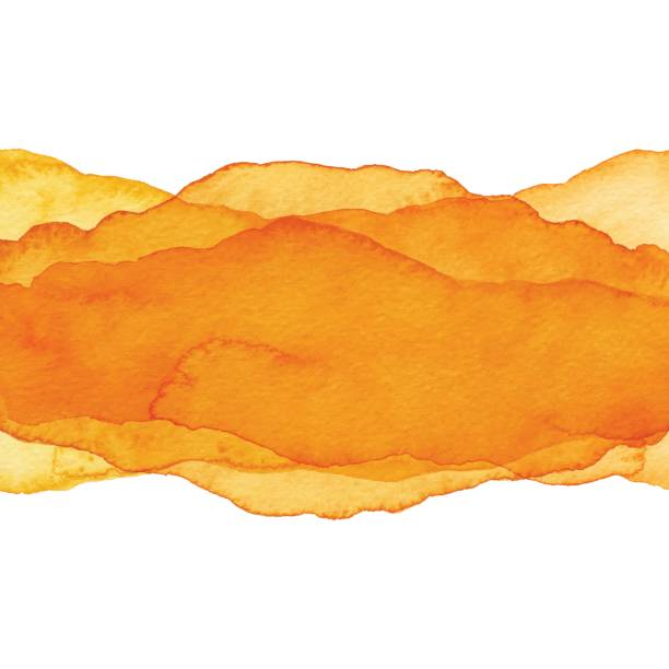 watercolor orange color wave background - orange color stock illustrations