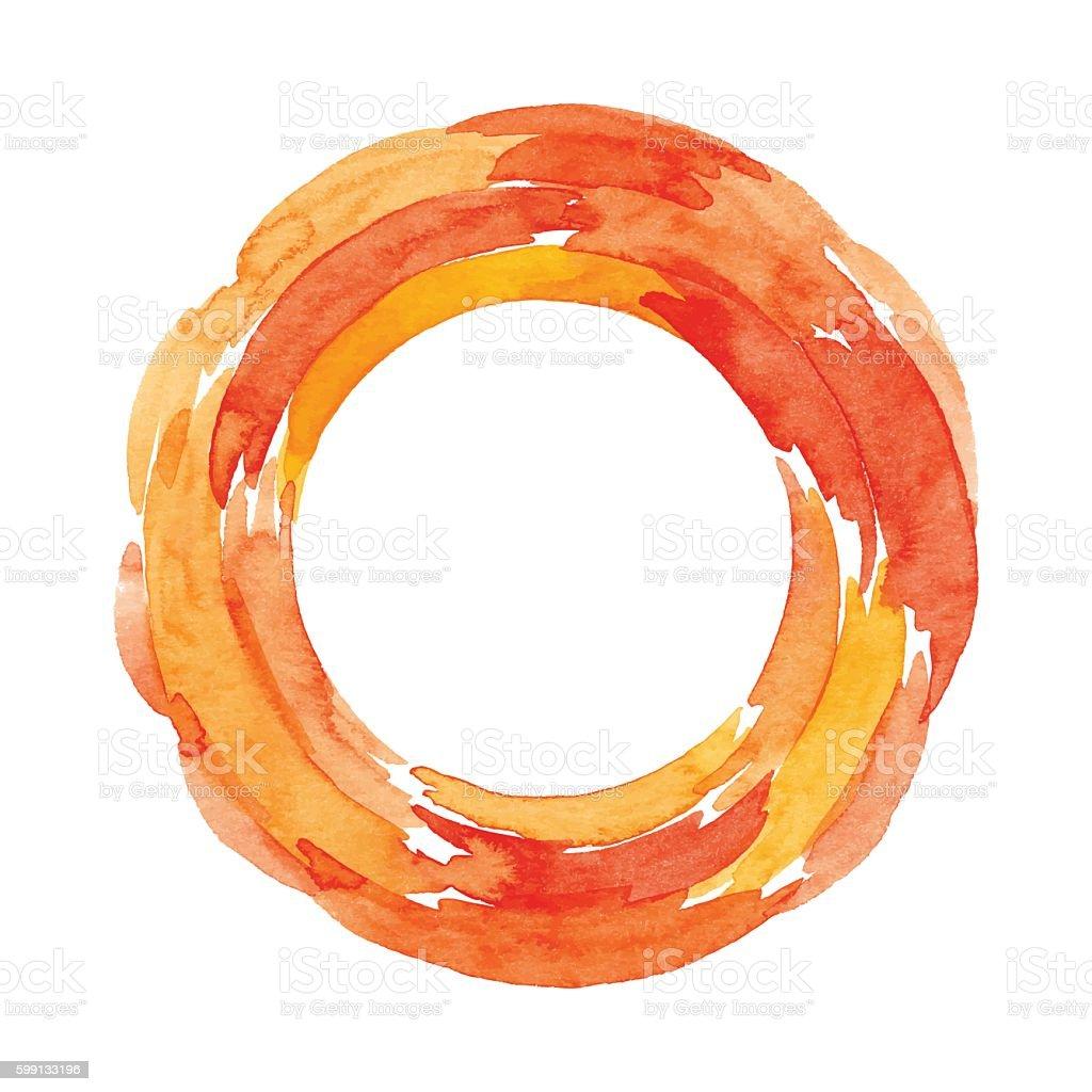Watercolor Orange Ring - ilustração de arte em vetor