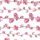 Watercolor oriental pattern with sakura branch.