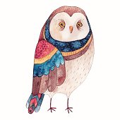 Watercolor funny kids illustration with owl. Hand drawn animal drawing. Owl bird painting. Perfect for t-shirts,cards,prints,postcards.