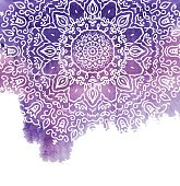 Watercolor paint background with white hand drawn round doodles and mandalas. design of backdrop