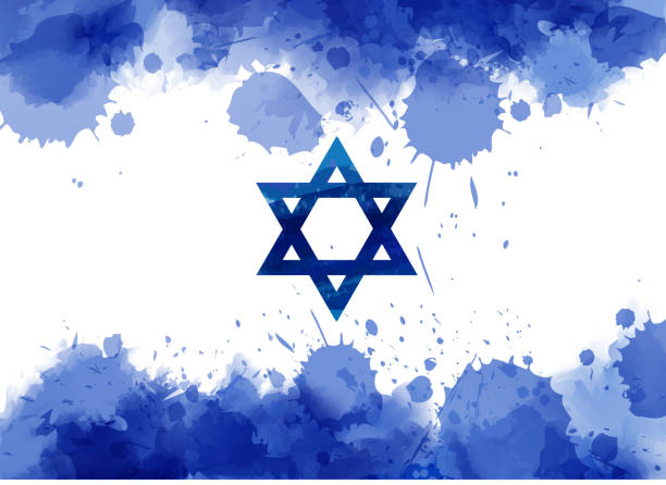 watercolor paint splash flag of israel - israel independence day stock illustrations, clip art, cartoons, & icons