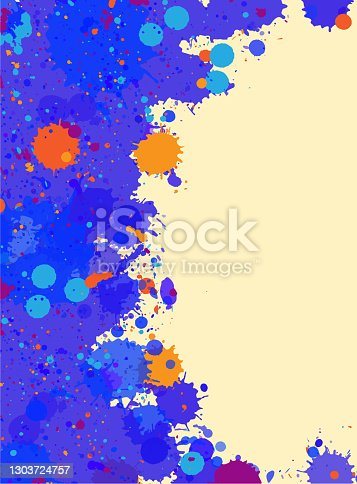 istock Watercolor paint splashes frame 1303724757