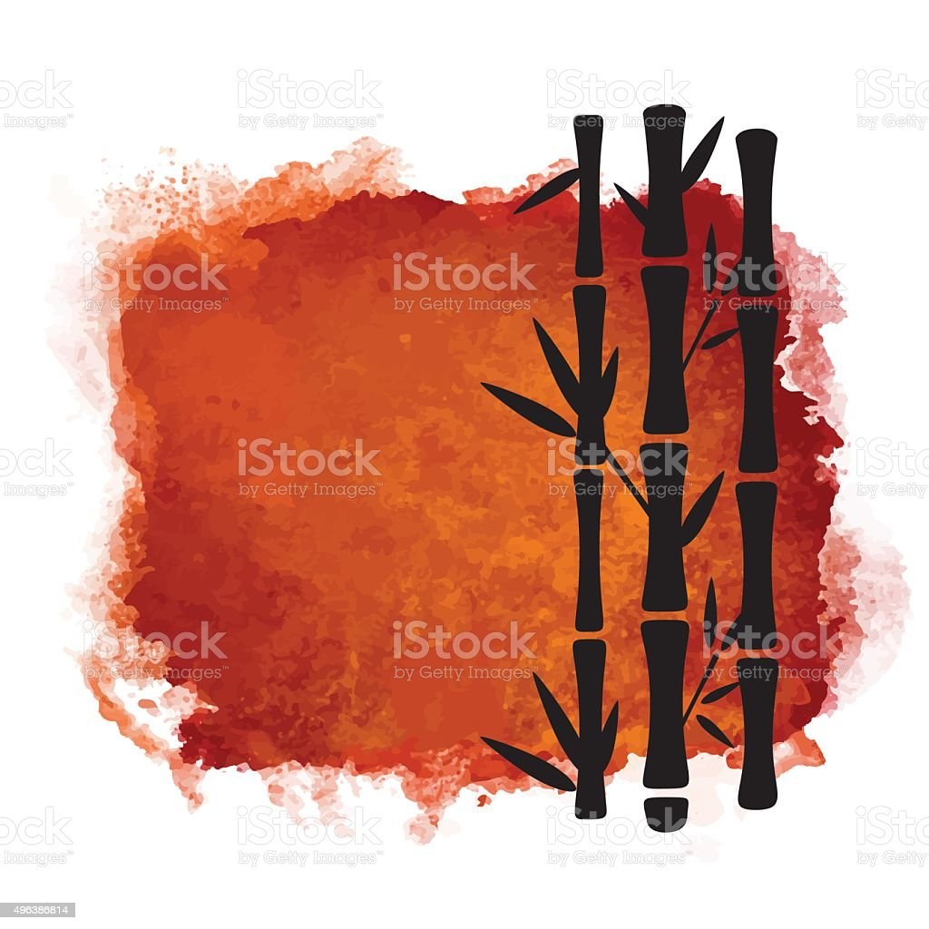 Watercolor paint stain and bamboo trees vector art illustration
