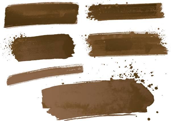 aquarellfarbe striche - dunkelbraun stock-grafiken, -clipart, -cartoons und -symbole
