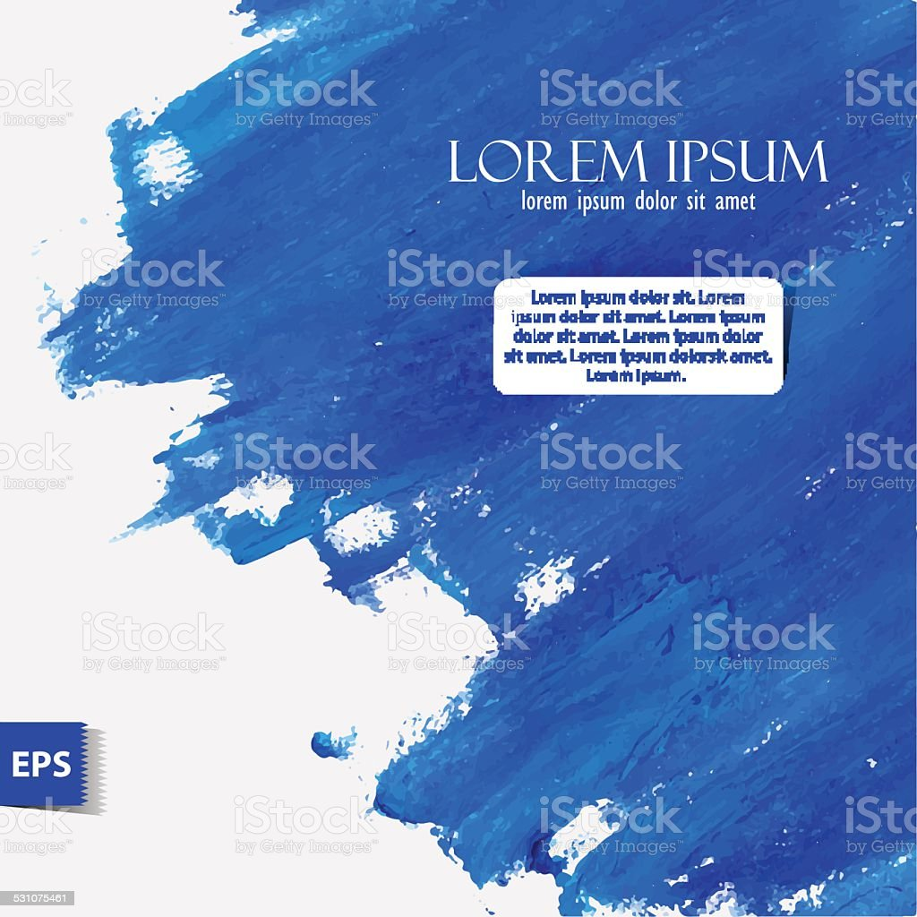 Watercolor painted background with blue oil vector art illustration