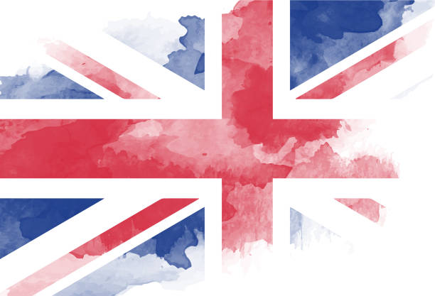 watercolor painted flag - union jack flag stock illustrations, clip art, cartoons, & icons