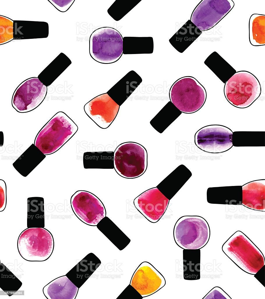 Watercolor painted pattern with nail polishes vector art illustration