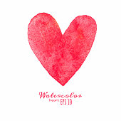 Watercolor painted red heart. Vector isolated element for your design.