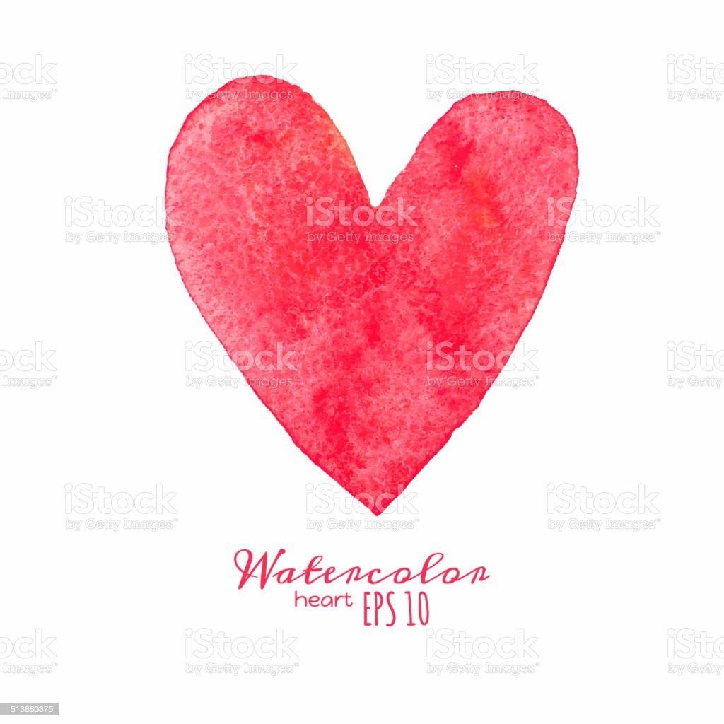 Watercolor painted red heart. vector art illustration