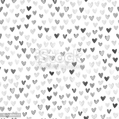 A collection of dark hearts on white background. Beautiful abstract stylish and modern design of small hearts arranged carelessly inside the whole square paper card. Edited hand painted watercolor hearts. Hand-made original illustration. Zoom to see the details. Artwork full of depth, glamor and glow. Isolated design object. SEAMLESS PATTERN - duplicate it vertically and horizontally to get unlimited area. Stylish minimalistic and luxury card design. VECTOR FILE.